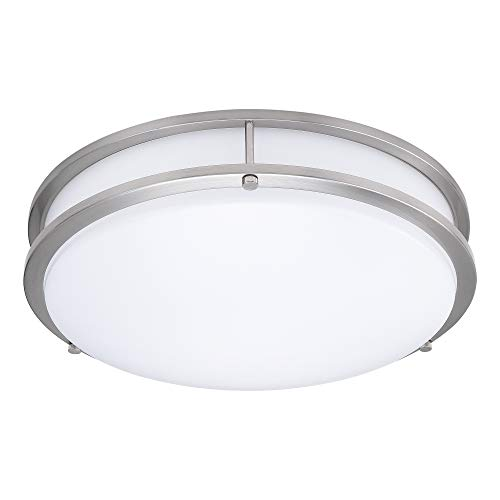 15-Inch Double Ring Dimmable LED Flush Mount Ceiling Light, 22W (100W Equivalent), 1800lm, 4000K ...