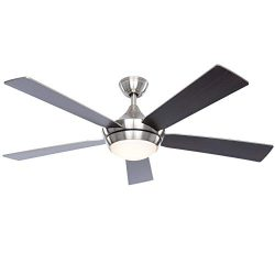 Fanimation Studio Collection Aire Drop 52-in Brushed Nickel LED Indoor Downrod Ceiling Fan with  ...