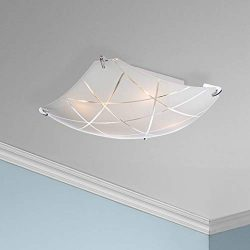 Lattice Modern Flush Mount Ceiling Light Fixture Chrome 16 1/2″ Wide Square Frosted Glass  ...
