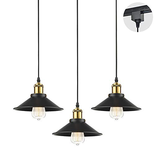 STGLIGHTING 3-Pack H-Type Track Light Pendants 4.9 Feet Cord Restaurant Chandelier Decorative In ...
