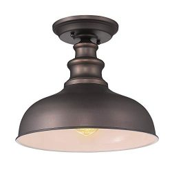 Zeyu Industrial Close to Ceiling Light Fixture, 1-Light Farmhouse Semi Flush Lighting for Hallwa ...