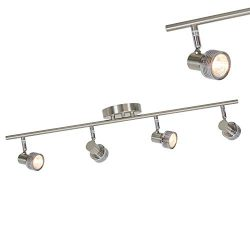 MELUCEE 4 Lights Track Lighting Ceiling Brushed Nickel, Modern Kitchen Ceiling Light Spotlight W ...