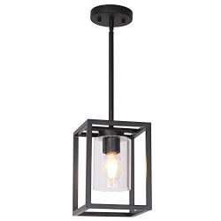 VINLUZ 1 Light Farmhouse Pendant Lighting Black Cage Chandelier Glass Shade Contemporary Modern  ...