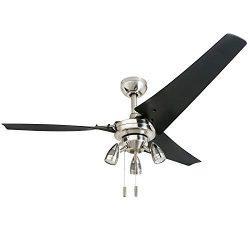 Honeywell 50611 Phelix High Power Ceiling Fan, LED 56″ Industrial, 3 Black ABS Blades, Bru ...
