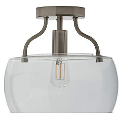 Stone & Beam Contemporary Flush-Mount Ceiling Light Fixture with Light Bulb and Glass Drum S ...
