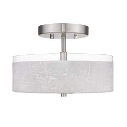 Jazava 2-Light Semi-Flush Mount Ceiling Light, Modern 12 inches Close to Ceiling Light, White Li ...