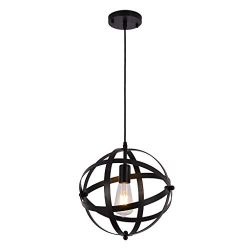 IslandseIndustrial Metal Pendant Light, Spherical Globe Hanging Light US Stock Black