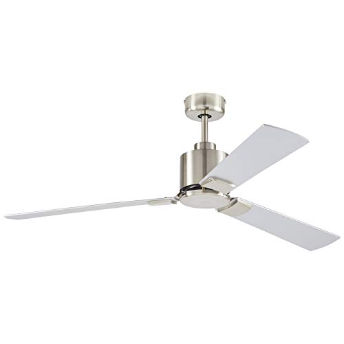 Rivet Modern Cylindrical 3 Blade Flush Mount Ceiling Fan – 43 x 43 x 12.5 Inches, Brushed  ...