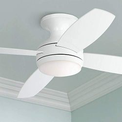 52″ Casa Elite Modern Hugger Low Profile Ceiling Fan with Light LED Dimmable Remote Contro ...