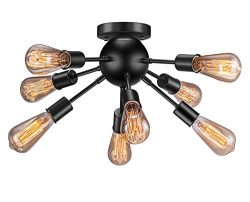 Vintage Semi Flush Mount Ceiling Light with 8 UL Sockets, Elibbren E26 Base Modern Antique Black ...