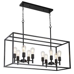 VINLUZ 10 Lights Kitchen Island Pendant Lighting Black Farmhouse Industrial Chandelier for Kitch ...