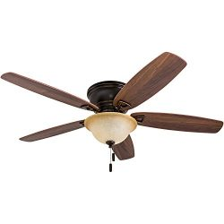 Honeywell 50517-01 Quick-2-Hang Hugger Ceiling Fan, 52″ Dimmable LED Sunset Fixture, Easy  ...