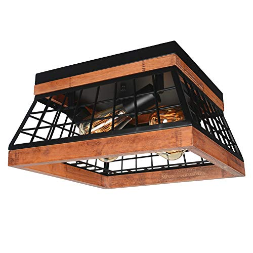 Baiwaiz Black Farmhouse Ceiling Lighting, Square Metal and Wood Flush Mount Ceiling Light Rustic ...