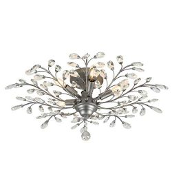 SEOL-LIGHT Vintage Large Crystal Branches Chandeliers Black Ceiling Light Flush Mounted Fixture  ...