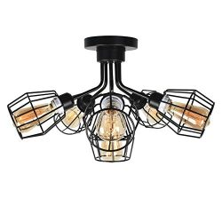 Baiwaiz Black Industrial Ceiling Lighting, Metal Wire Cage Semi Flush Mount Light Steampunk Clos ...