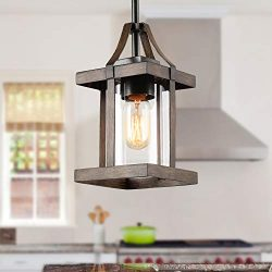 LNC Faux-Wood Pendant Lighting, Farmhouse Island Light with Clear Glass Shade for Kitchen Island ...