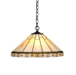 Chloe Lighting CH31315MI18-DH2 Belle Tiffany-Style Mission 2-Light Ceiling Pendant with Shade, 8 ...