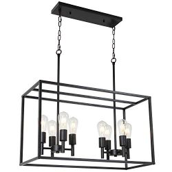 VINLUZ 8 Light Farmhouse Island Pendant Hanging Lighting Black Kitchen Light Fixture for Dining  ...