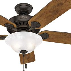 Hunter Fan 52 inch Traditional Premier Bronze Indoor Ceiling Fan with Light Kit (Renewed)