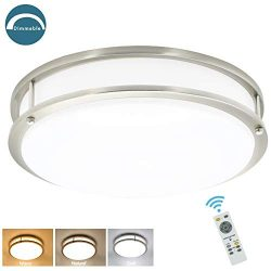 DLLT 30W Dimmable LED Flush Mount Ceiling Light Fixture with Remote-14 Inch Round Ceiling Lighti ...