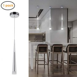 Harchee Mini Modern Pendant Light in Silver Brushed Finish with Acrylic Shade, Adjustable LED Co ...