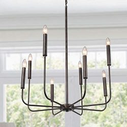 LALUZ Rust Kitchen Island Lighting Transitional Chandelier Hang Fixture for Dining Room, 8, Bronze