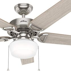 Hunter Fan 52 inch Brushed Nickel Ceiling fan with Integrated Light Kit and Cased White Glass (R ...