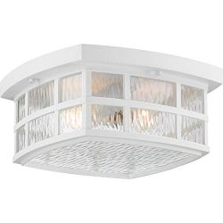 Quoizel SNN1612W Stonington Outdoor Flush Mount Ceiling Lighting, 2-Light, 120 Watts, Fresco (6& ...