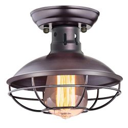 CHICLUX Industrial Vintage Ceiling Light Metal Cage Pendant Lighting Oil Rubbed Bronze Semi Flus ...