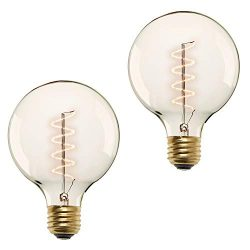 40W Edison Globe Light Bulbs – G40 Large Vintage Bulb, E26 Base, Spiral Filament, Fully Di ...