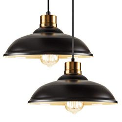Industrial Metal Pendant Lighting Single Set of 2,Height-Adjustable Edison Hanging Light Fixture ...