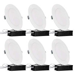 TORCHSTAR Premium 6 Inch Slim Panel Wafer Downlight with J-Box, 13.5W Dimmable Ultra-Thin LED Re ...