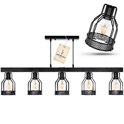 Black Farmhouse Chandelier – Pendant Lighting for Kitchen Island, Dining Room Lighting Fix ...