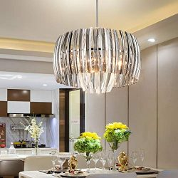 TZOE Crystal Chandelier,Modern Drum Light,17.7″(D) x45.7″(H),4 Light Crystal Pendant ...