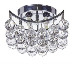 Top Lighting 4-Light Chrome Finish Clear European Crystals Chandelier Square Flush Mount Ceiling ...