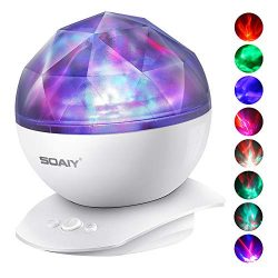 Aurora Night Light Projector Lights, Soaiy, 8 Changing Aurora and 360°Rotatable, 1h Auto closes  ...