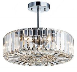 Saint Mossi Modern Crystal Semi Flush Mount Chandelier Lighting Close to Ceiling Lights Clear Cr ...