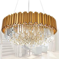 MEELIGHTING Raindrop Gold Modern Crystal Chandelier Lights Luxury Pendant Ceiling Light Contempo ...