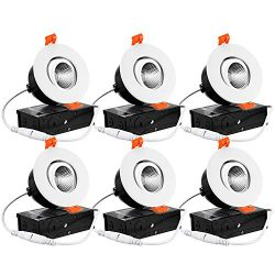 TORCHSTAR 6-Pack 3 Inch Gimbal LED Dimmable Recessed Light with J-Box, 7W (50W Eqv.) 500lm, Airt ...