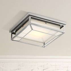 Radcliffe Modern Outdoor Ceiling Light Fixture LED Matte Nickel 12″ Frosted Bonded Glass D ...