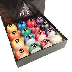 JaperBees Billiard Ball Pool Ball Set-Pearl Look Resin Ball, Complete 16balls, 4.3OZ(1/4 Lighter ...
