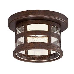 Design House 587212 Washburn Outdoor LED Flush Mount Ceiling Light, Rustic Bronze