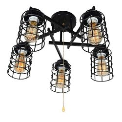 Baiwaiz Industrial Semi Flush Mount Ceiling Light with Pull Chain, Black Metal Wire Cage Close t ...