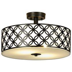 SOTTAE Luxurious Living Room Bedroom Ceiling lamp Black Bronze Glass Diffuser Chrome Finish Flus ...