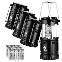 Etekcity 4 Pack LED Camping Lantern Portable Flashlight with 12 AA Batteries – Survival Ki ...