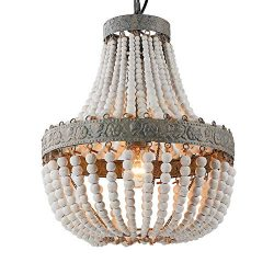 Newrays Wood Bead Chandelier Pendant Gray White Finishing Retro Vintage Antique Rustic Kitchen C ...