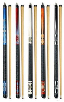Set of 5 Pool Cues New 58″ Billiard House Bar Pool Cue Sticks GJ-1~GJ-5