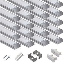 hunhun 20-Pack 3.3ft/1Meter U Shape LED Aluminum Channel System with Milky Cover, End Caps and M ...
