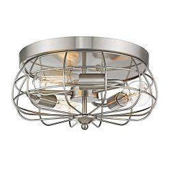 Jazava Retro Flush Mount Ceiling Light, 3-Light Close to Ceiling Light Fixture, Dia 14.5 inches  ...