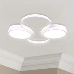 White Round LED Light Ceiling Lamp Chandelier Lighting Fixture 24″ Wide 22″ Deep 2&# ...